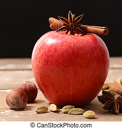 red apple and cinnamon