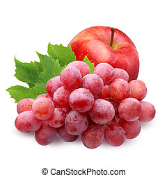 red Apple and grapes isolated on white background