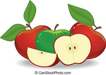 Red Apple and Green Apples
