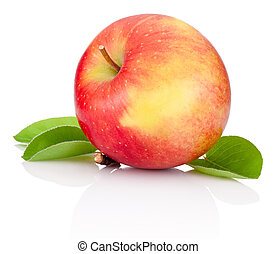 Red apple and green leaves isolated on a white background