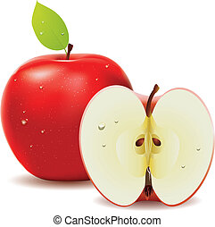 Red apple and half of apple