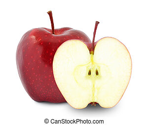apple - red apple and half on white background