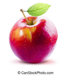 Red Apple and leafe isolated with clipping path - Red Apple ...