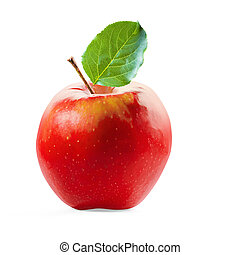Red Apple and leafe isolated with clipping path