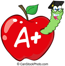Red Apple And Letter A - Worm In Red Apple With Graduate Cap...