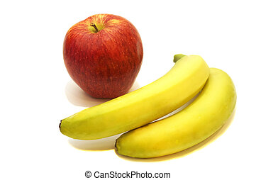 Red apple and two bananas isolated on white background