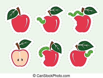 red apple and worm. set of color icons