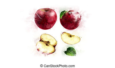 Red Apple animation for healthy eating - Animation of the...