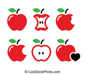 Red apple, apple core, bitten icons - Vector icons set of...