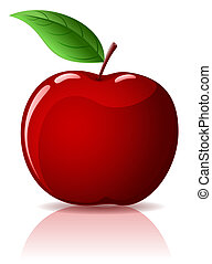 Red apple - Beautiful red apple with green leaf isolated on ...