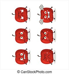 Red apple cartoon character with various angry expressions