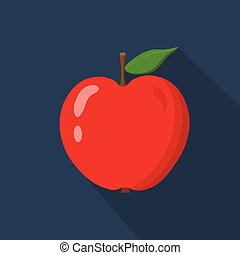 Red apple cartoon flat icon. Dark blue background. Vector illustration.
