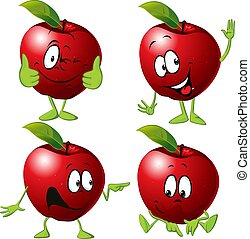 Red apple cartoon with face and hand gesture - vector illustration