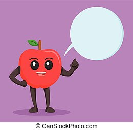 red apple character with callout
