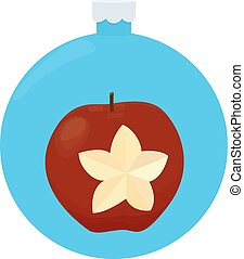 Red apple Christmas Greeting Card in blue christmas-tree ball