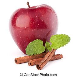 Red apple, cinnamon sticks and mint leaves still life ...