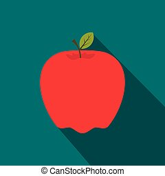 Red apple flat icon with shadow