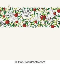 Red apple food seamless pattern garland