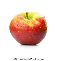red apple - fresh apple on white background