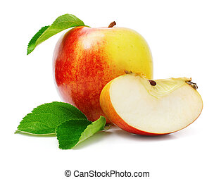 red apple fruits with cut and green leaves isolated on white...