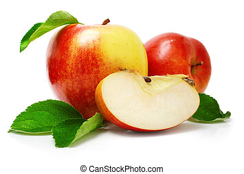 red apple fruits with cut and green leaves