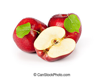 red apple fruits with green leaves
