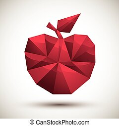 Red apple geometric icon made in 3d modern style, best for use a