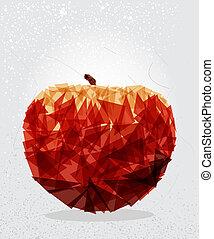 Red apple geometric shape.