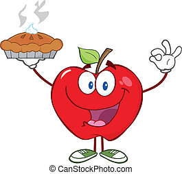 Red Apple Holding Up A Pie - Happy Red Apple Character...