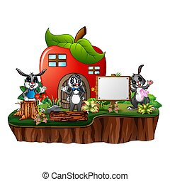 Red apple house with three rabbits on white background