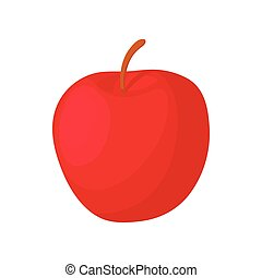 Red apple icon, cartoon style