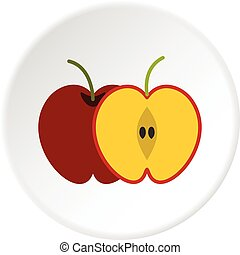 Red apple icon circle