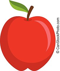 Red apple icon, flat style