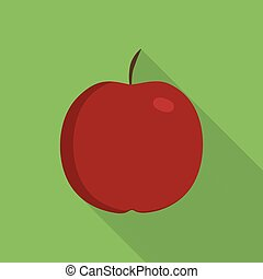 Red apple icon in flat long shadow design with green background