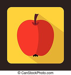 Red apple icon in flat style