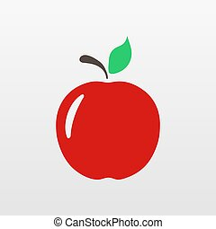 Red Apple icon isolated. Modern simple flat fruit sign. Natural food, internet concept. Trendy eco vector vegetarian symbol for website design, web button, mobile app. Logo illustration.