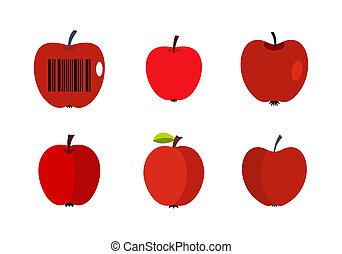 Red apple icon set, flat style