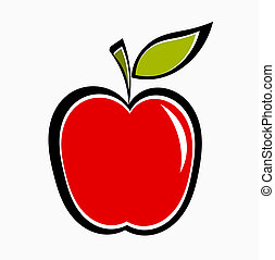Red apple icon. Vector illustration