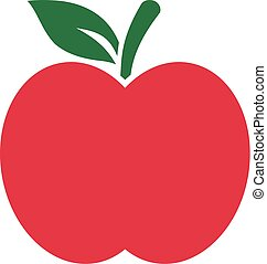 Red Apple icon with green leaf