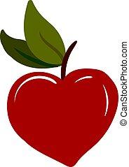 Red apple, illustration, vector on white background.