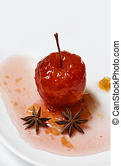 Red apple in rose syrup