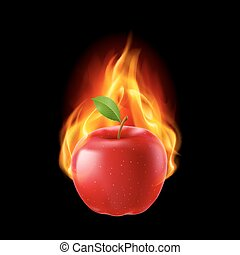 Red apple in the fire