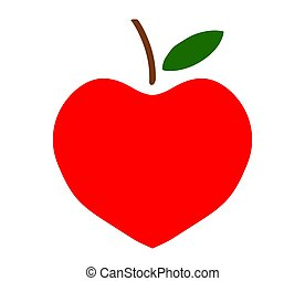 Red apple in the shape of a heart on a white background. Symbol.