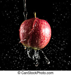 Red apple in water