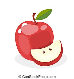 Red apple isolated on white background in a cartoon style. Vector illustration.