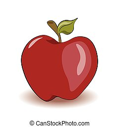 Red apple isolated. Vector