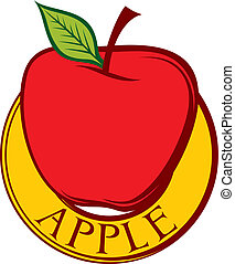 red apple label design