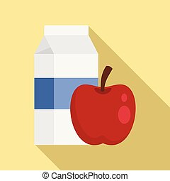 Red apple milk pack icon, flat style