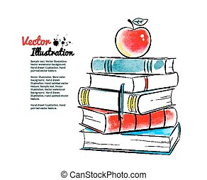 Red apple on books. Vector watercolor illustration.