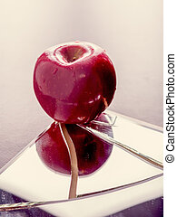 Red apple on broken mirror - Red apple on cracked broken...